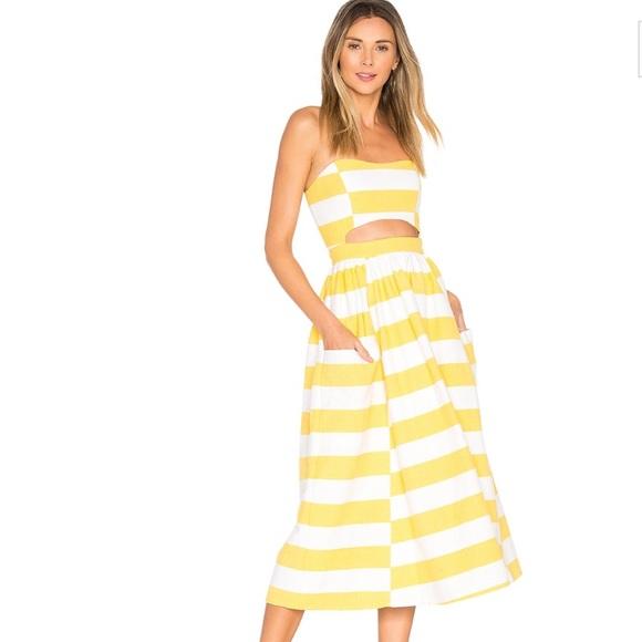 1e3bb25628 Mara Hoffman Yellow   White Striped Cutout Dress